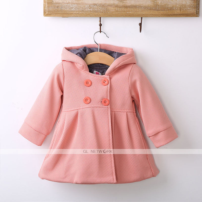 34bb08ac2 Fashion 100% Cotton New Baby Toddler Girl Autumn Winter Horn Button Hooded Pea  Coat Outerwear Jacket