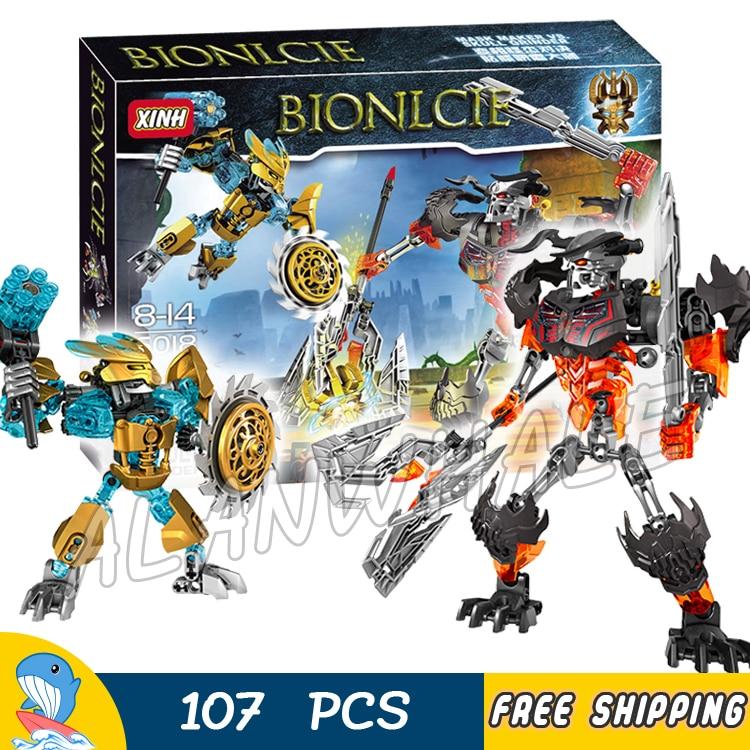 107pcs Bela Bionicle Hero Tahu Mask Maker Skull Grinder Model Building Blocks Boys Kids Bricks Compatible With Lego m02 field cs skull mask chieftain mask dark yellow