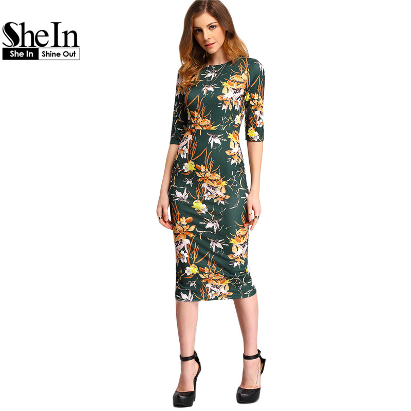 6e2a2311d2c5 SheIn Womens Autumn Dress Bodycon Dresses New Vintage 2016 Spring Summer  Office Green Mock Neck Floral Pencil Midi Dress-in Dresses from Women s  Clothing   ...