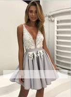 Silver 2018 Homecoming Dresses A line Deep V neck Short Mini Appliques Lace Backless Elegant Cocktail Dresses
