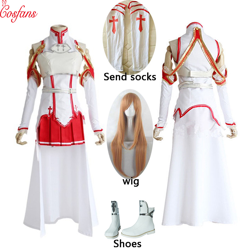 Anime Sword Art Online Yuuki Asuna Dress Cosplay Costume For Women Uniform Halloween Party Cosplay Costume Armor Full Set Wig