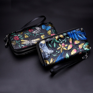 Image 5 - Genuine Leather Large Capacity Double Zipper Pockets Women Floral Long Wallet Credit Card Holder Ladies Purse Rose Flower Clutch