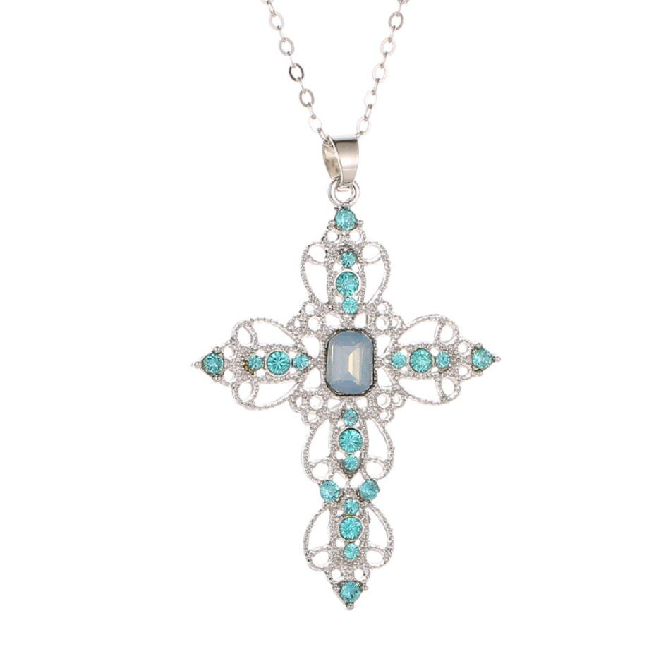 New Exquisite Bible Jesus Cross Pendant Necklace for Rhinestone Blue Pink color Women Crucifix Charm Jewelry 2019 drop shipping in Pendant Necklaces from Jewelry Accessories