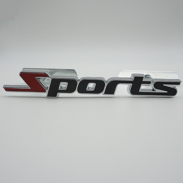 Sports chrome metal car head grille styling stickers decoration full metal sports hood rear car decals