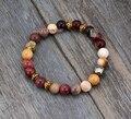 Exclusive Natural Jasper with Pyrite Stretch Bracelets Handmade Elastic Bead bracelet Yoga Bracelet Birthday Gift