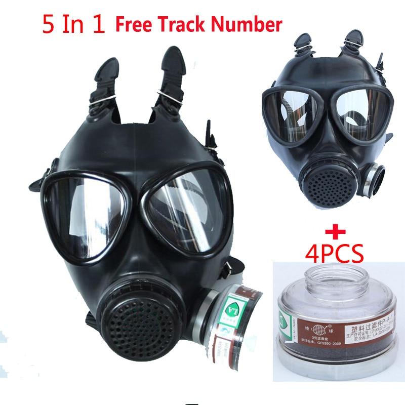 5 en 1 industrie peinture Spray noir militaire armée soviétique respirateur masque à gaz Silicone laboratoire respirateur avec filtre 40mm