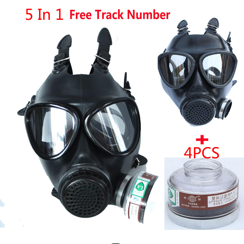 5 In 1 Industry Paint Spray Black Military Soviet Army Respirator Gas mask Silicone Laboratory Respirator With Filter 40mm-in Chemical Respirators from Security & Protection
