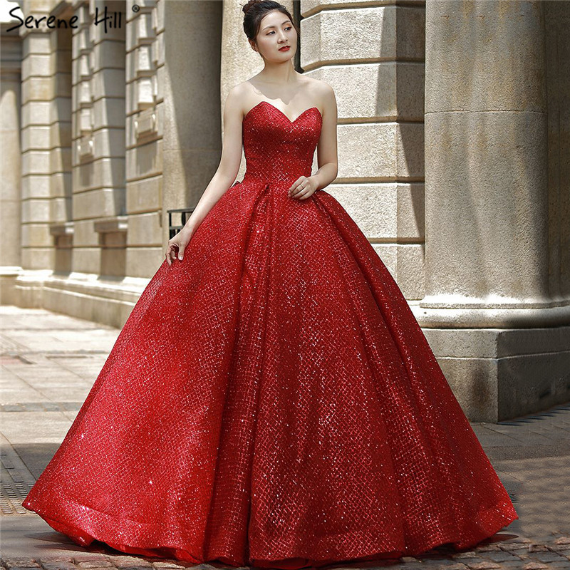 Sexy Big Red Sleeveless Princess Wedding Dresses 2019