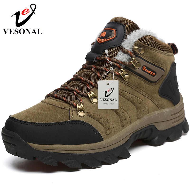 Марка vesonal, зимние меховые теплые ботинки для мужчин, кроссовки, мужская обувь, для взрослых, Нескользящие, резиновые, повседневные, рабочие, безопасные, унисекс, ботильоны