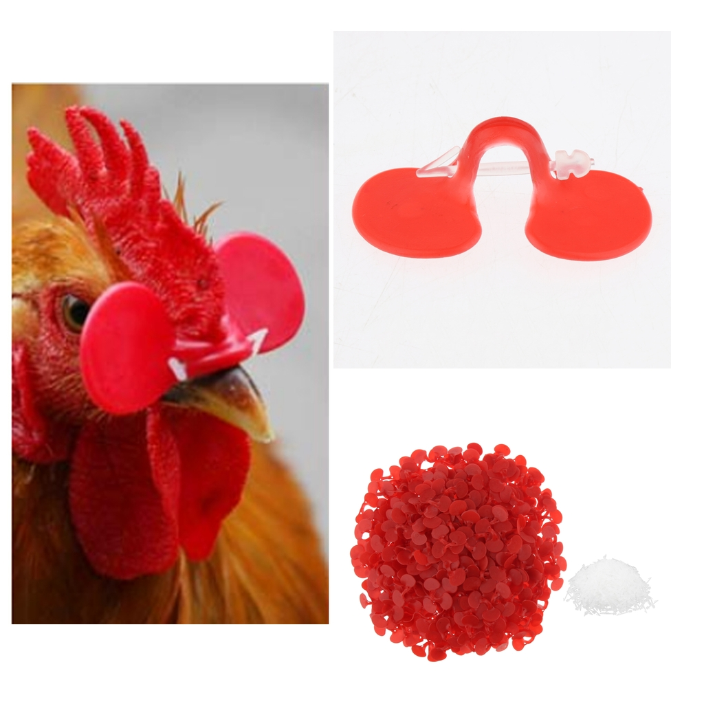 1000 Pairs Red Poultry Hen Chicken Eye Glasses Protector Blinders With Pins
