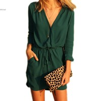 Summer Vestidos Women Mini Dress Brand Sexy V Neck Pocket Black White Long Sleeve Loose Chiffon Shirt Dress Long Blusas 58