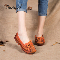 2016 Genuine Leather Women Flats Shoes Pointed Toes Handmade Original Design Vintage Style Folk Style Elderly