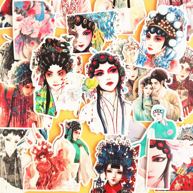 24pcs Chinese Ancient Opera Character Style Decoration Stationery Sticker Diy Diary Scrapbooking Label Sticker Stationery