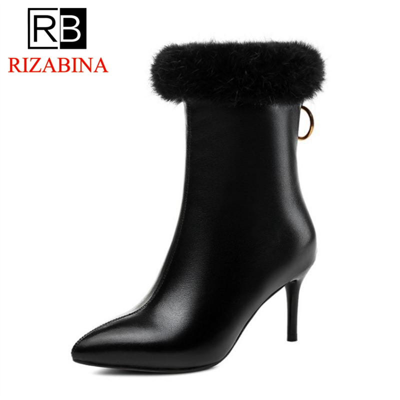 RizaBina Women Boots Ankle Genuine Leather Shoes Woman Sexy High Heel Boots Fur Pointed Toe Zipper Short Boots Size 33-40RizaBina Women Boots Ankle Genuine Leather Shoes Woman Sexy High Heel Boots Fur Pointed Toe Zipper Short Boots Size 33-40