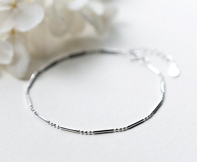 (so Dünn) 1 Stück 925 Sterling Silber Schmuck Glück Bar Kette Armband Charme Frauen Gtls428 Um Jeden Preis