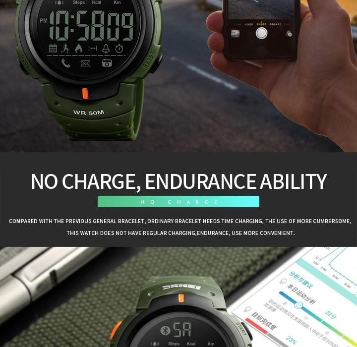 Men's Sport Smart Watch SKMEI Brand Fashion Pedometer Remote Camera Calorie Bluetooth Smartwatch Reminder Digital Wristwatches