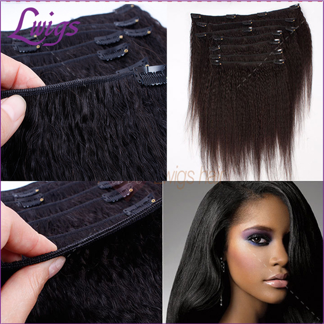 Kinky Straight Clip In Hair Extensions Brazilian Virgin Human Hair