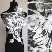 High-end Düğün Gazlı Bez Nakış Dantel Aplike Çiçek Gelinlik El Yapımı DIY Elbise Malzeme Dekoratif Aksesuarları Beyaz