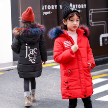 Children's Winter Jackets for Girl 2018 New Coat Kids Warm Thick Fur Collar Hooded Long Down Cotton Coat for Teenage Parkas недорого