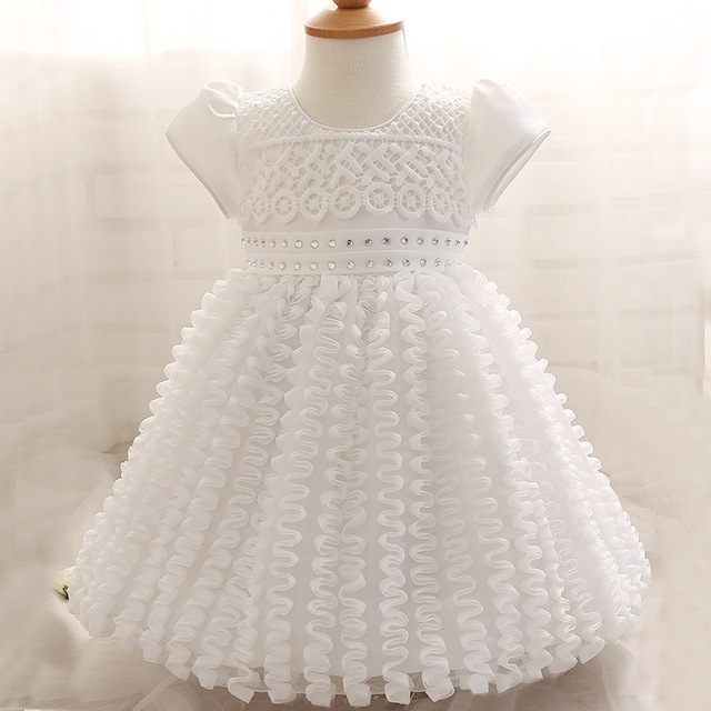 392937319c1 Baby Girl Toddler Dresses Hook Flower Gauze Tutu Dress Children 0-2 Years  White Beaded