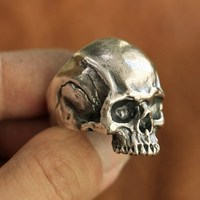 925 Sterling Silver Details Skull Ring Mens Biker Punk Ring TA102A US Size 7~15