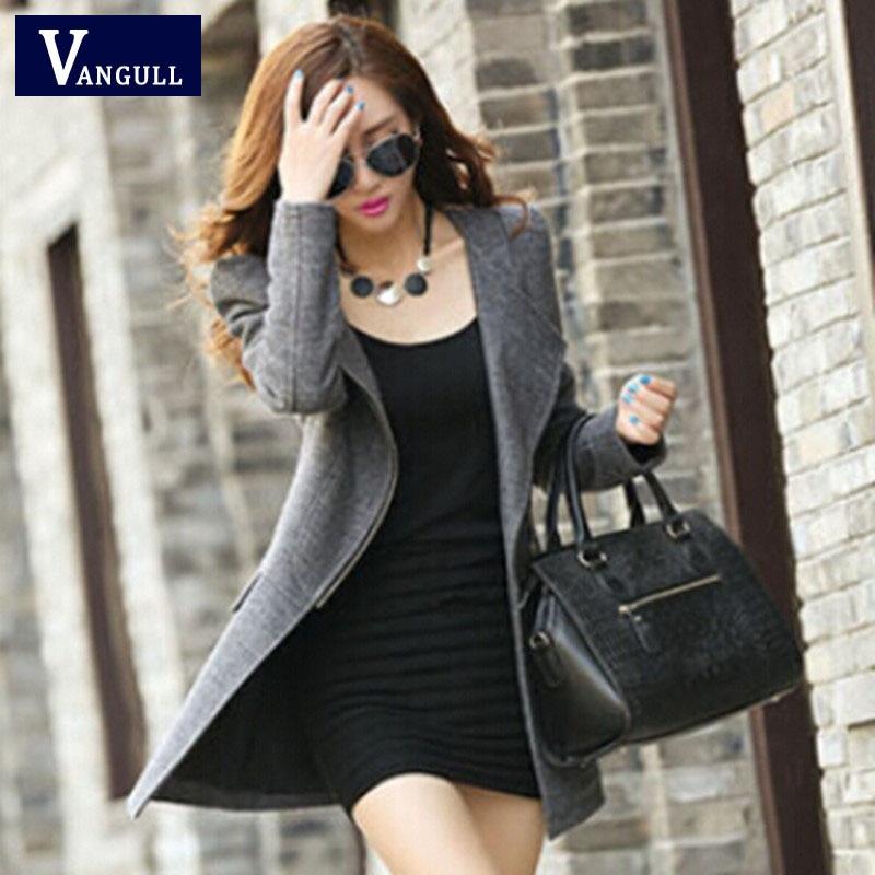 Winter Women Cashmere Wool Coat Casual Slim Long Clothing Zipper Jacket Tops Fashion New 2017 Womens Jackets And Coats