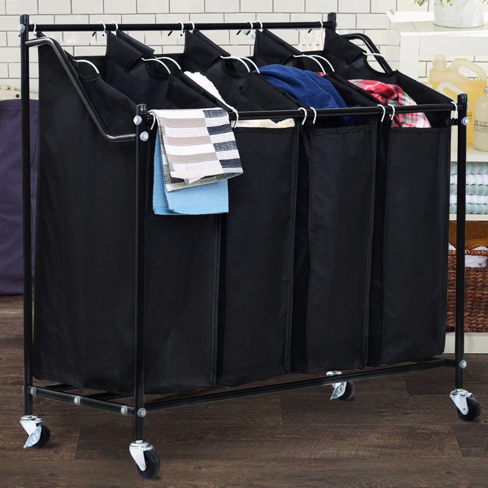 Giantex 4 Beutel Roll Wäsche Sorter Warenkorb Korb Organizer Kompakte Korb Schwere Moderne Möbel HW57046