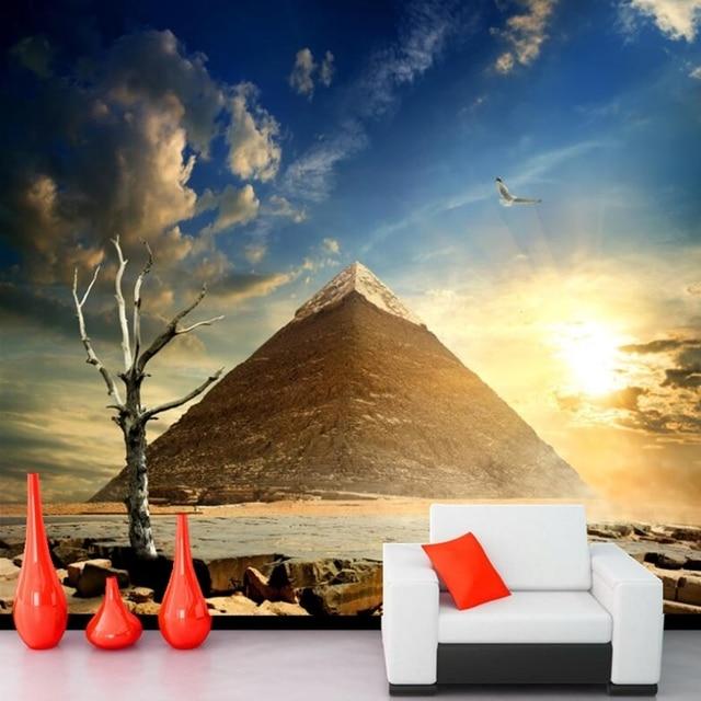 Papel de parede Egypt Desert Sky Pyramid Nature wallpaper,hotel bar living room tv background sofa wall bedroom 3d murals