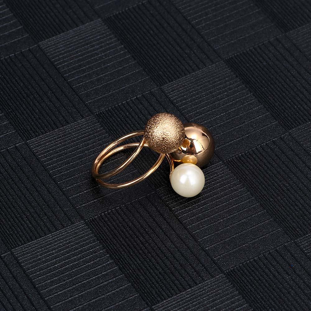 1 Pcs Frau Mode Übertreibung Schmuck Zubehör Finger Ringe Metall Bälle Simulierte Perle Verstellbare Öffnung Ringe