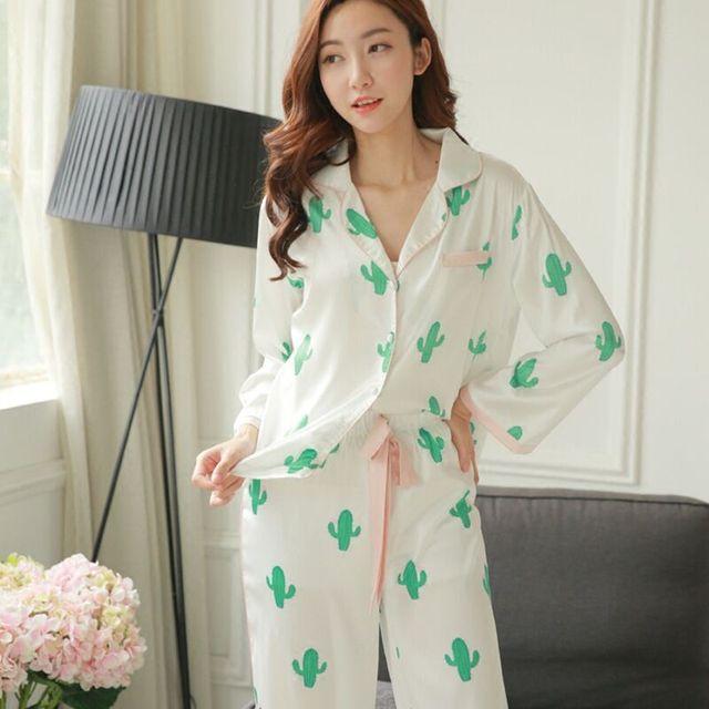 a899cded38 CFYH 2018 New Fashion Spring Summer cactus pattern Comfortable pajamas silk  satin pajamas two piece suit pajamas