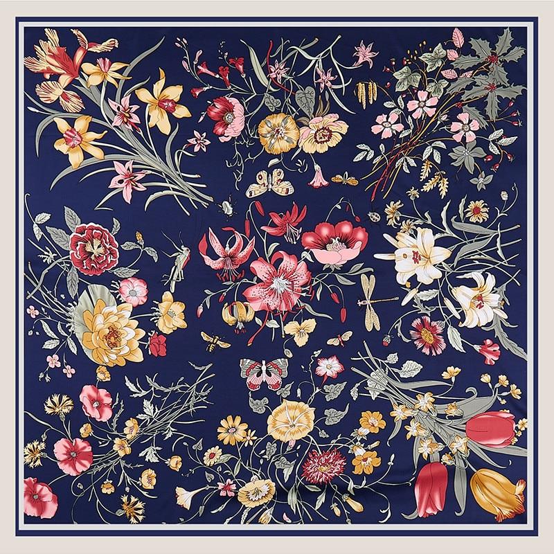 POBING 100% Twill Silk Scarf Women Flowers Print Square Scarves Large Bandana Luxury Kerchief Hijab Scarf Female Foulards 130CM