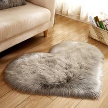 купить Long Hairy Rug Blue White Pink Shaggy Carpet Love Heart Shape Fur Rugs Artificial Wool Sheepskin Baby Room Bedroom Soft Area Mat по цене 395.33 рублей