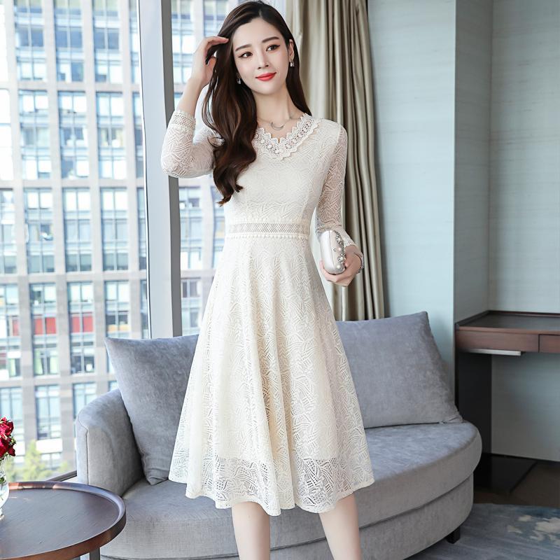 Vintage Lace Dress Women 2019 Spring New Women Dresses 34