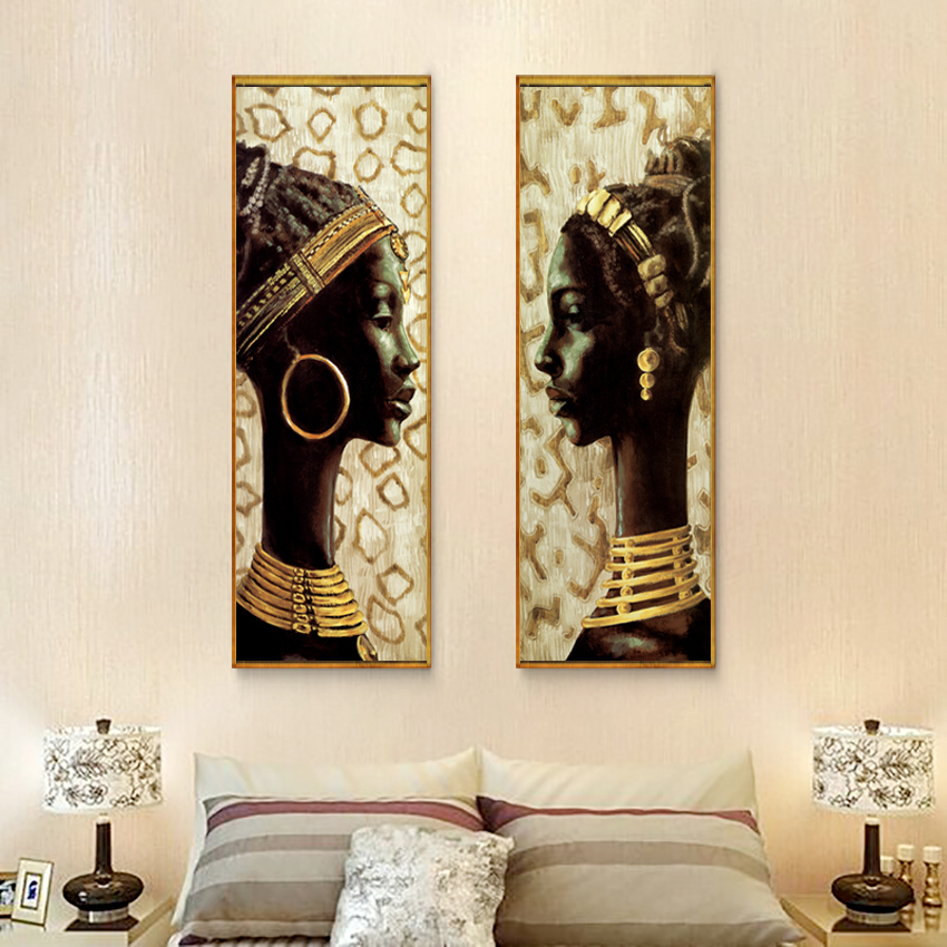 stunning african decorating ideas | Abstract Canvas Art Beautiful African Woman Gold Canvas ...