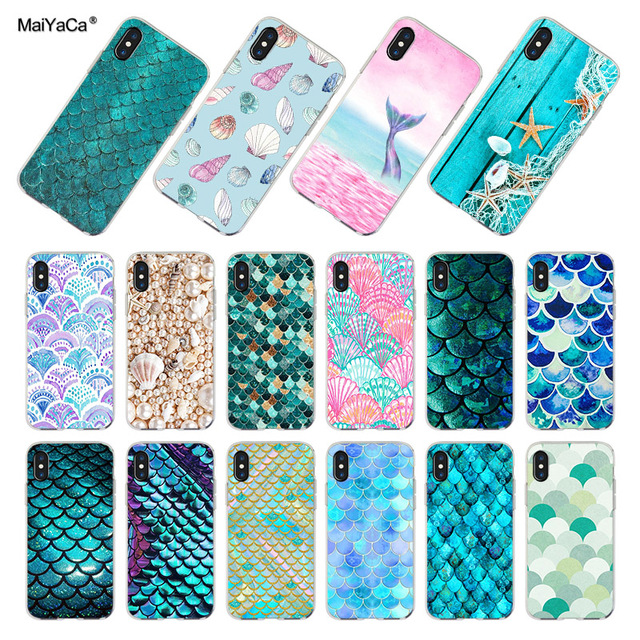 the latest 85cda dcc5e US $1.32 49% OFF|MaiYaCa Fashion Shell Mermaid Tail Scale Phone Cover Case  for Apple iPhone 8 7 6 6S Plus X 5 5S SE XS XR XSMAX-in Half-wrapped Case  ...