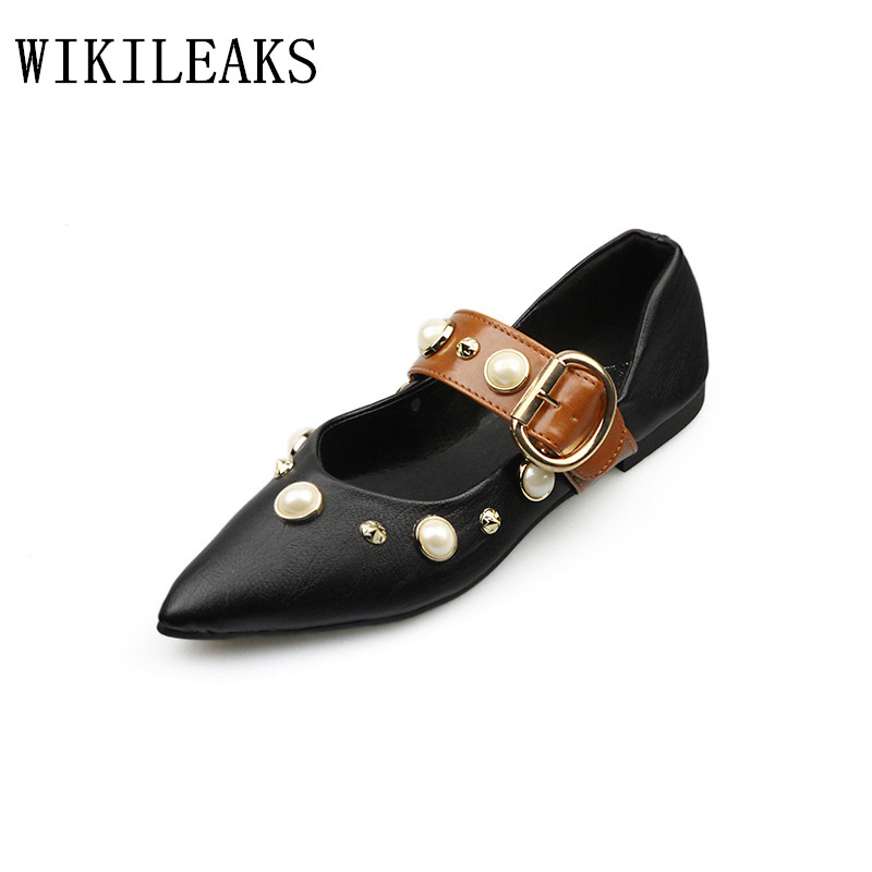 luxury brand black pointed toe women loafers pearl diamond flats zapatillas mujer casual ladies shoes chaussures femme ete 2017 women ladies flats vintage pu leather loafers pointed toe silver metal design