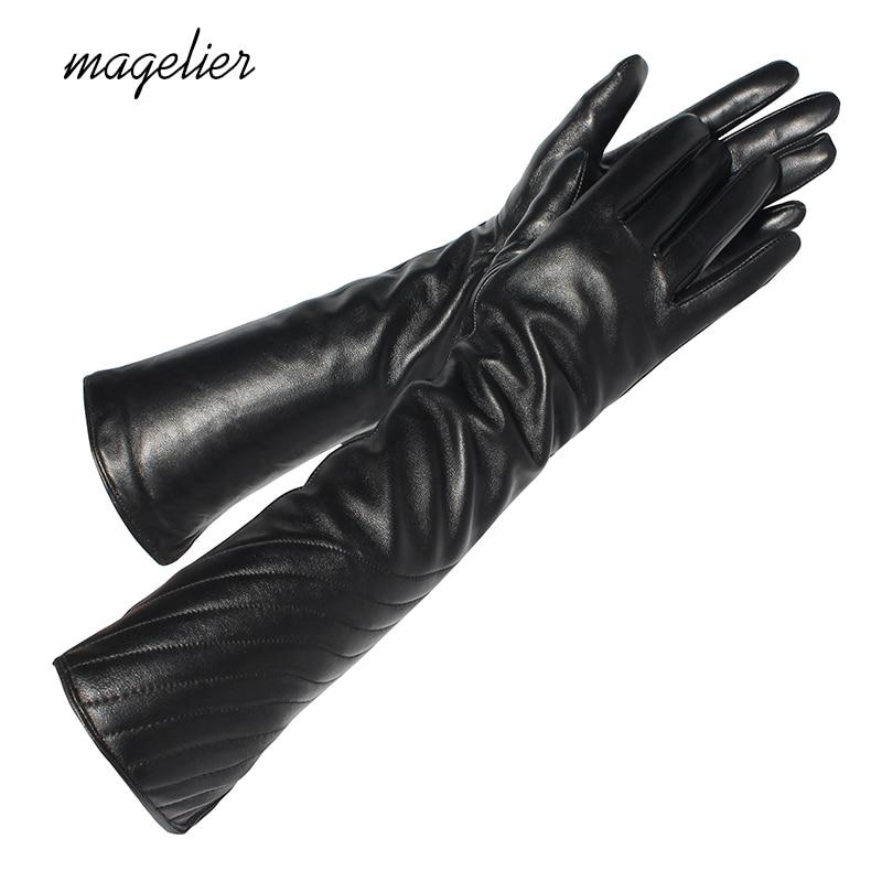 Magelier Women's Long Genuine Leather Gloves Real Sheepskin Touch Screen Gloves Black Sheepskin Gloves Keep Warm In Winter 081
