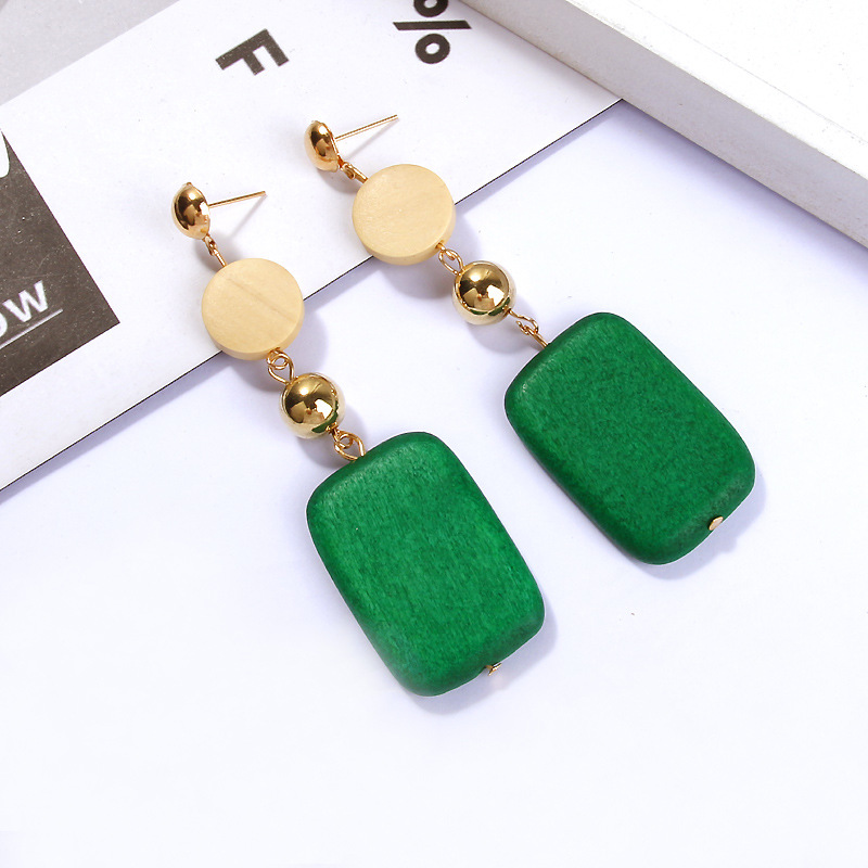 QTWINDY Round Wood Earring Square Dangle Drop Earrings For Women Bohemian Fashion long Earrings Orange Green Weeding Bijoux in Drop Earrings from Jewelry Accessories