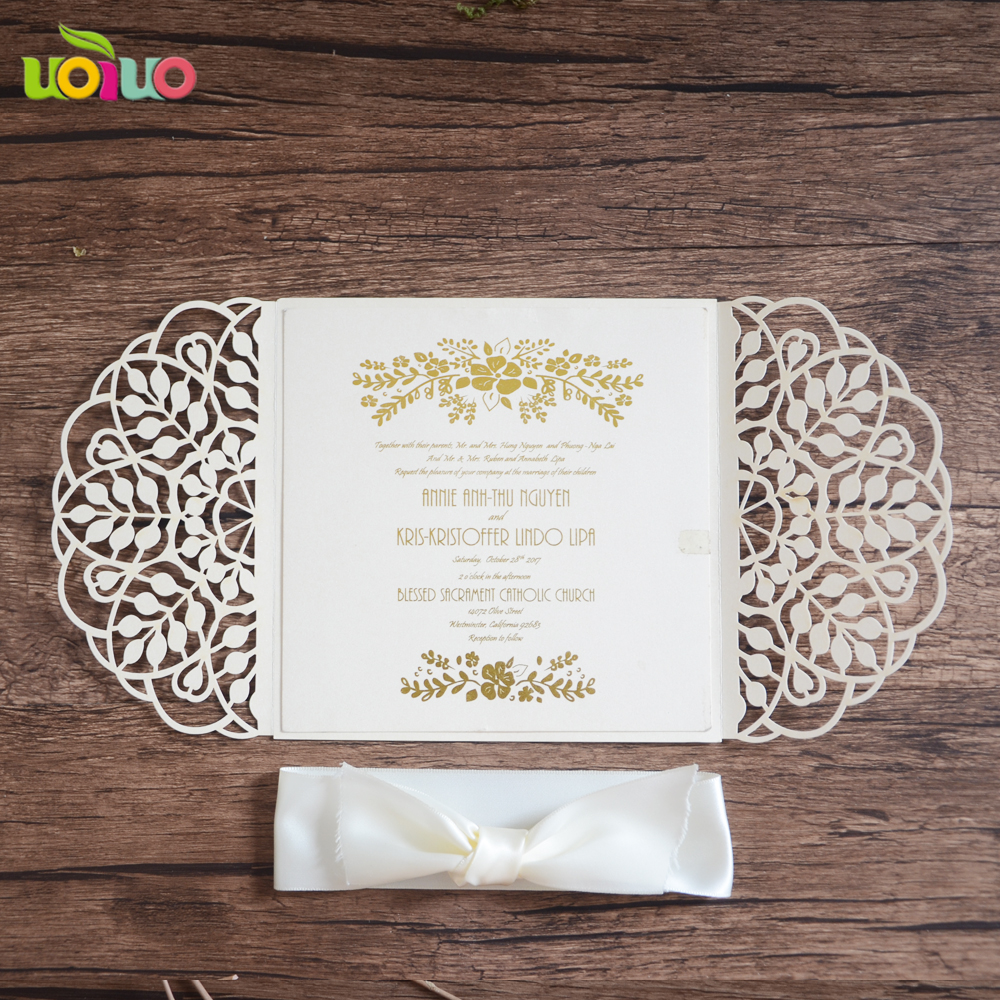 Wholesale Lace Wedding Invitations Black English Blank Wedding