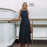 summer women polka dot dress vintage ladies dresses korean style long maxi dress sleeveless robe femme ete 2019