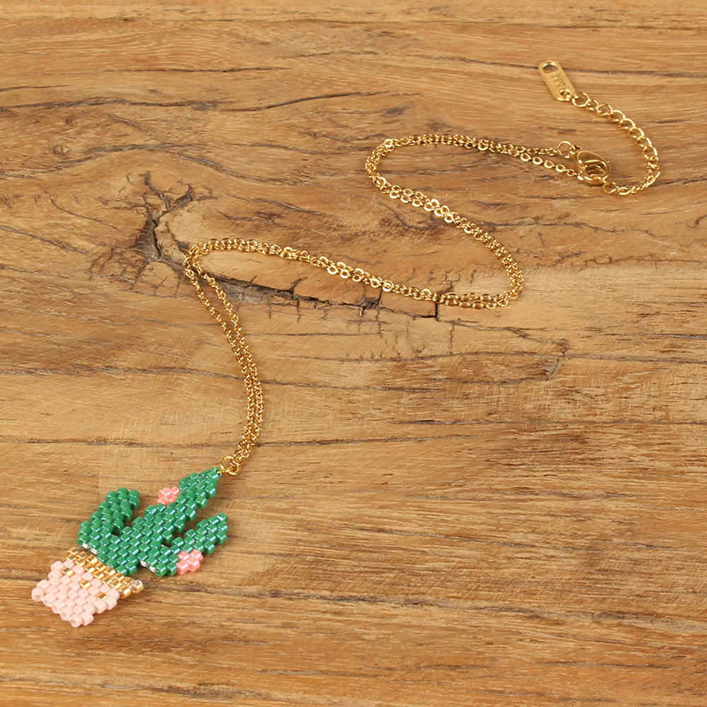 Go2hobo Dropshipping Necklace Earrings Women Jewelry Set Cactus Shape Japan MIYUKI Seed Beads Green New Jewelry Sets Her Gifts
