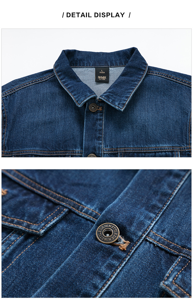 SEMIR denim Jackets men coat dark Blue Casual Teens Denim Jacket cotton Turn-down Collar Long Sleeve Denim Bomber jackets 13