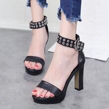 купить Brand Fashion Rivet Open Toe Gladiator Sandals Women High Heels Pu Leather Women Shoes Sexy Wedding Pumps Shoes 10cm CH-A0056 по цене 1859.11 рублей