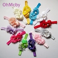 Ribons Shabby Chic Flor De La gasa Venda Del Bebé Niñas Headwear Del Pelo Del Arco de La Flor Diadema para Bebé Niños Accesorios Para el Cabello