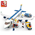 Original Sluban New Blue Airbus Airplane Model Building Blocks 483pcs/set DIY Educational Bricks toy Compatible with