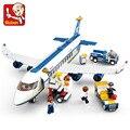 Original sluban nuevo azul bloques de construcción modelo de avión airbus 483 unids/set diy ladrillos educativos juguete compatible con