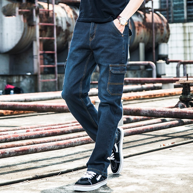 Autumn Winter Jeans Men Casual Denim Trousers Multi Pocket Baggy Loose Jeans Straight Overalls Cargo Trousers Plus Size 46 48