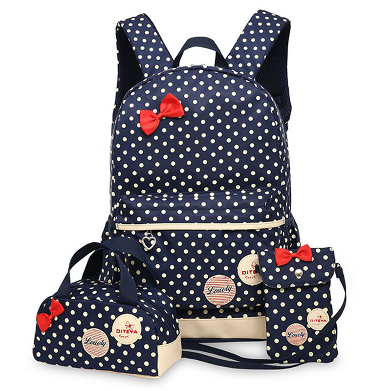 Large Capacity School Bags for Teenagers Girls Cute Ladies Dot Printing Backpack set Women Shoulder Travel Bag rucksack Book Ba