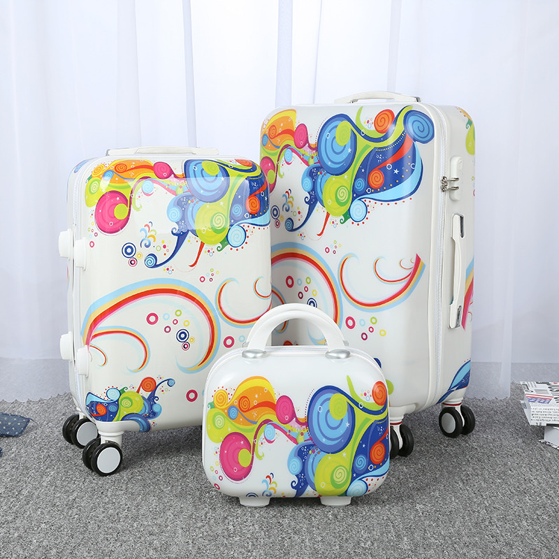 Cartoon luggage female universal wheels trolley luggage travel bag14 20 24 password box child lovely cartoon bags picture box