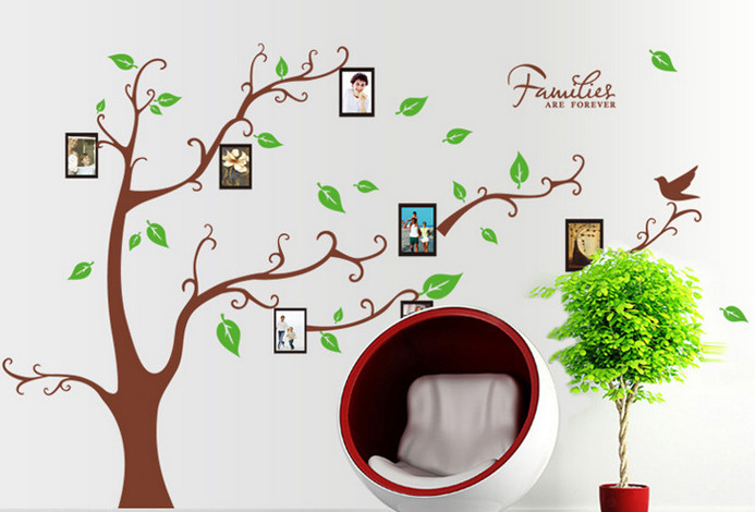 Large brown 3d diy photo tree pvc wall decals adhesive for Diy family tree wall mural